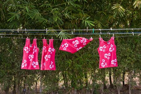 Pink and White Batik clothing on a clothesline on St Kitts 版權商用圖片