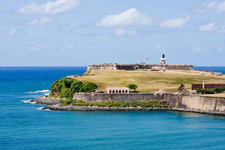 the fort: A green public park outside an ancient fort on the coast of Puerto Rico Stock Photo