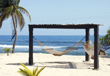 Dos hamacas colgando de un marco de madera en una playa tropical Foto de archivo - 8599467