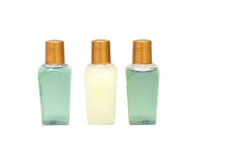 Three bottles of lotion on a white background Stock fotó