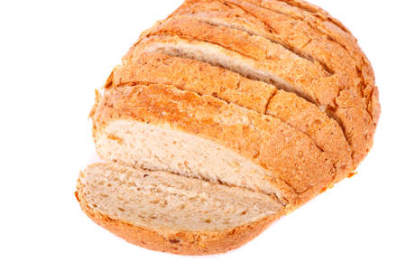 A loaf of sliced whole grain bread on a white background