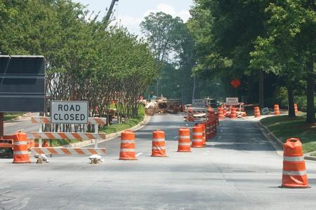 道路建設サイト閉鎖 写真素材