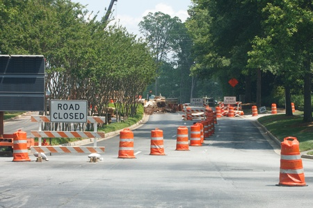 road barrier: A construction site with road closed Stock Photo