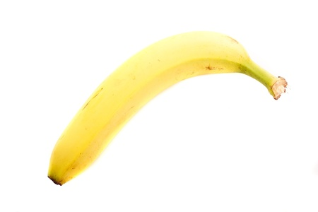 A single yellow loan banana isolated on a white background Stock Photo