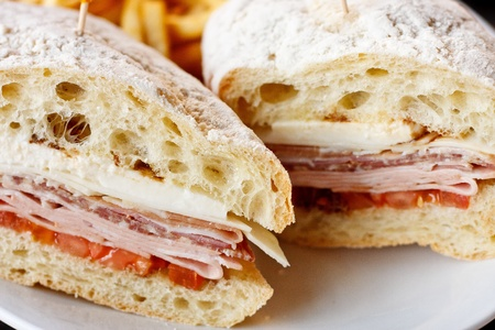 hoagie: A fresh sandwich of cold cuts and cheese on fresh baked bread Stock Photo