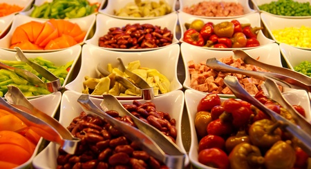 Peppers, beans and other vegetables at a fresh salad bar Stok Fotoğraf