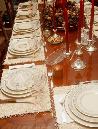 A traditional thanksgiving or christmas formal dining table photo