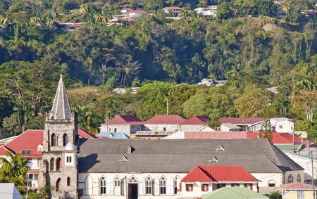 An old church in colorful Bridgetown Barbados Archivio Fotografico