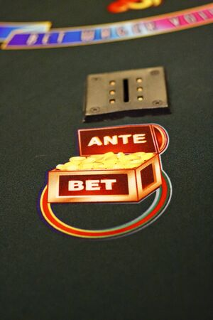 Ante and Bet circle on a Caribbean stud table Stock Photo