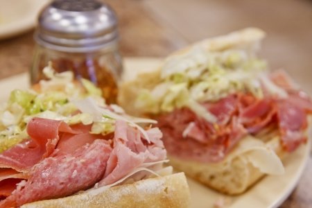 hoagie: An italian sub sandwich dressed with lettuce and spices Stock Photo