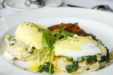 florentine: Poached eggs on toasted english muffin with spinach and hollandaise sauce