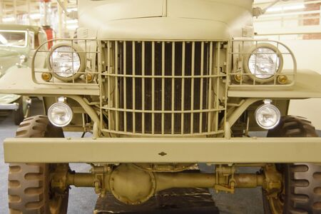 Front of a classic old military utility vehicle