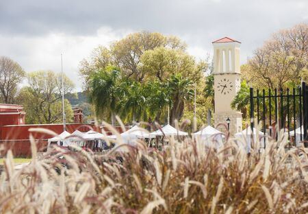 sea oats: Clock tower and street market on the coast of St Croix beyond sea oats