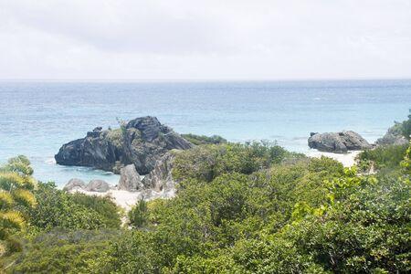 Pink sand beaches beynd tropical foliage on coast of Bermuda