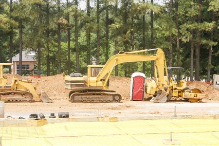 earth moving: Heavy earth moving equipment at a new construction site
