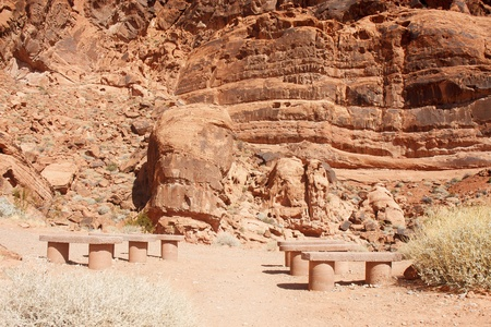 Empty stone benches for show in red rock canyon Stock Photo - 14200308