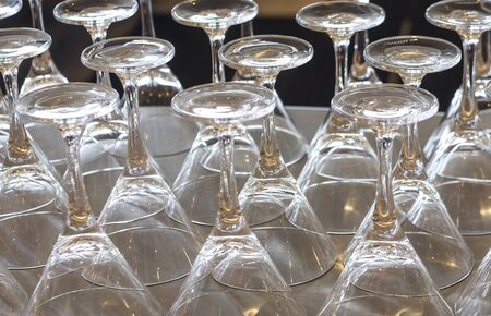 Tray of martini glasses on a bar