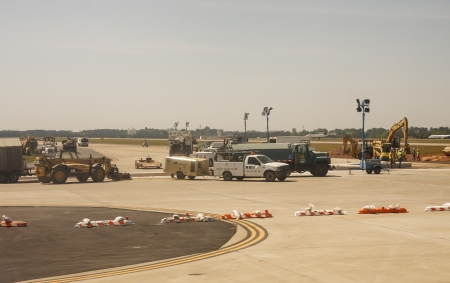 Construction equipment on a major airport runway