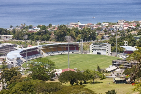cricket field: Cricket field and stadium on tropical island of Dominica