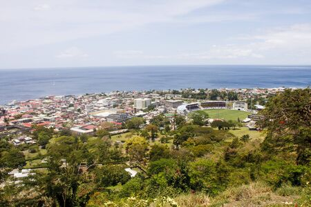 dominica: Colorful Town of Rosseau Dominica from above Stock Photo