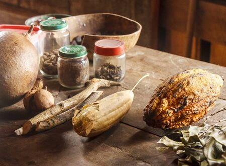 Various pods, bark, spices and herbs at a Dominican Processing Plant Imagens