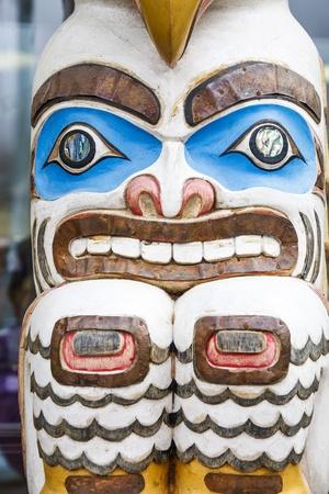 A colorful carved Inuit totem in Alaska