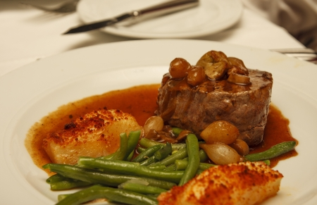 long bean: A thick filet mignon with mushroom gravy, green beans and roasted potatoes
