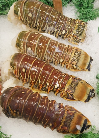 Lobster tails on ice in a seafood market