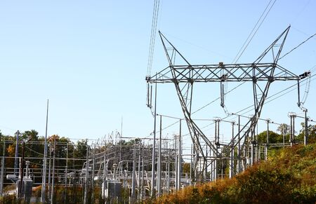 A high  electricity complex under blue skies