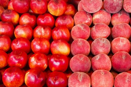 Fresh, ripe, peaches and nectarines for sale in a local farmers market Stok Fotoğraf
