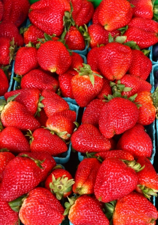 Containers of fresh, red, whole strawberries in a farmers market Stok Fotoğraf
