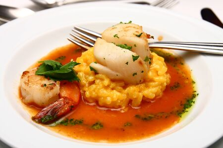 An appetizer of shrimp and scallops on risotto and sauce