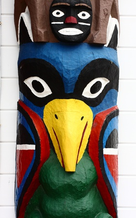 A colorful totem in Alaska carved like a bird Stock Photo - 16881667