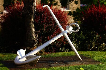 A large anchor painted white in a public park Stock Photo - 17158483