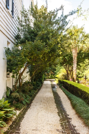 A gravel and brick driveway by a white house under crepe myrtles Stock Photo - 17725381