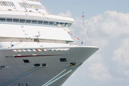 Bow of a luxury cruise ship tied up at port Stock Photo - 17725511