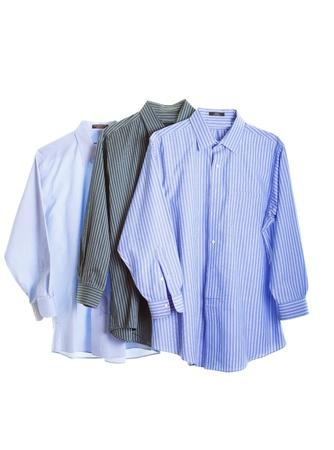 Three dress shirts isolated on white background