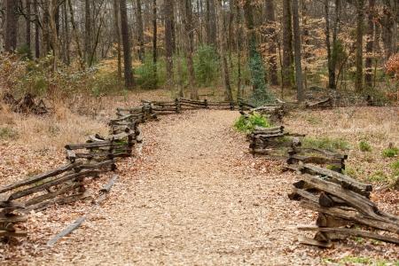 split rail: An old split rail fence by a walking path through the woods in winter
