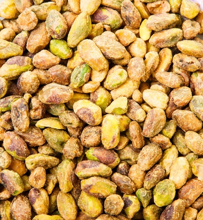 Closeup of shelled and salted pistachio nuts