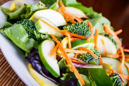 roughage: Mixed Salad on White Plate with mixed greens, cucumber, brocolli, squash and carrots Stock Photo