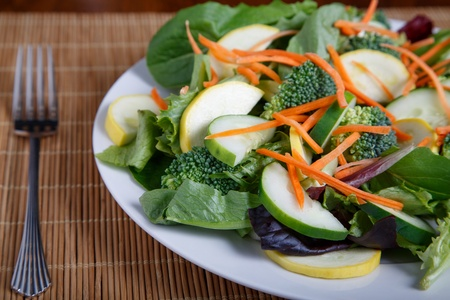 Mixed Salad on White Plate with mixed greens, cucumber, brocolli, squash and carrots Imagens