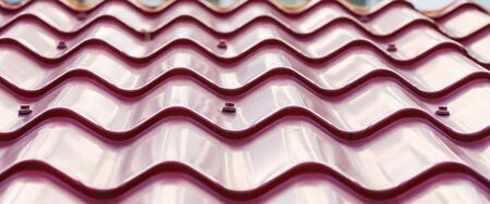A puple, metal tile roof with curved lines and bolts