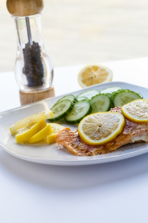 Gebakken zalm met plakjes citroen en komkommers Stockfoto