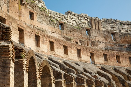 Inside the Roman Coliseum in Rome, Italy