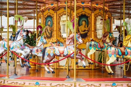 Carousel in a square in Florence, Italy Foto de archivo