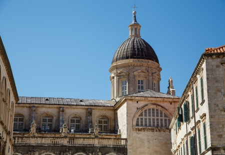 walled: Walls and domes on the old walled city of Dubrovnik in Croatia Stock Photo
