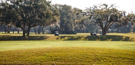2 つのゴルフコースは南ゴルフ コースに樫の木の木陰で駐車