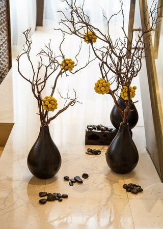 Pebbles and plants in pots on a marble shelf Stock Photo - 20563238