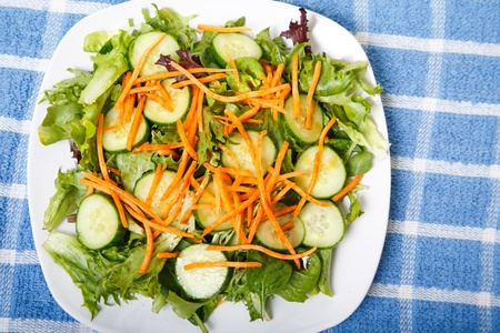 A healthy vegetable salad on a white plate and a blue plaid cloth shot from above
