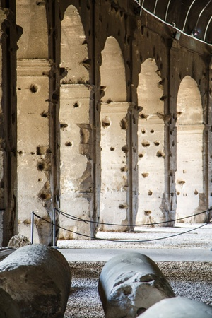 passageways: Ancient Arches lining the passageways under the Roman Coliseum Stock Photo
